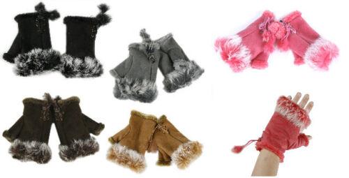 Handschuhe mit Fell Handstulpen Damen mit Fellbesatz NEU 5 farb fingerlos