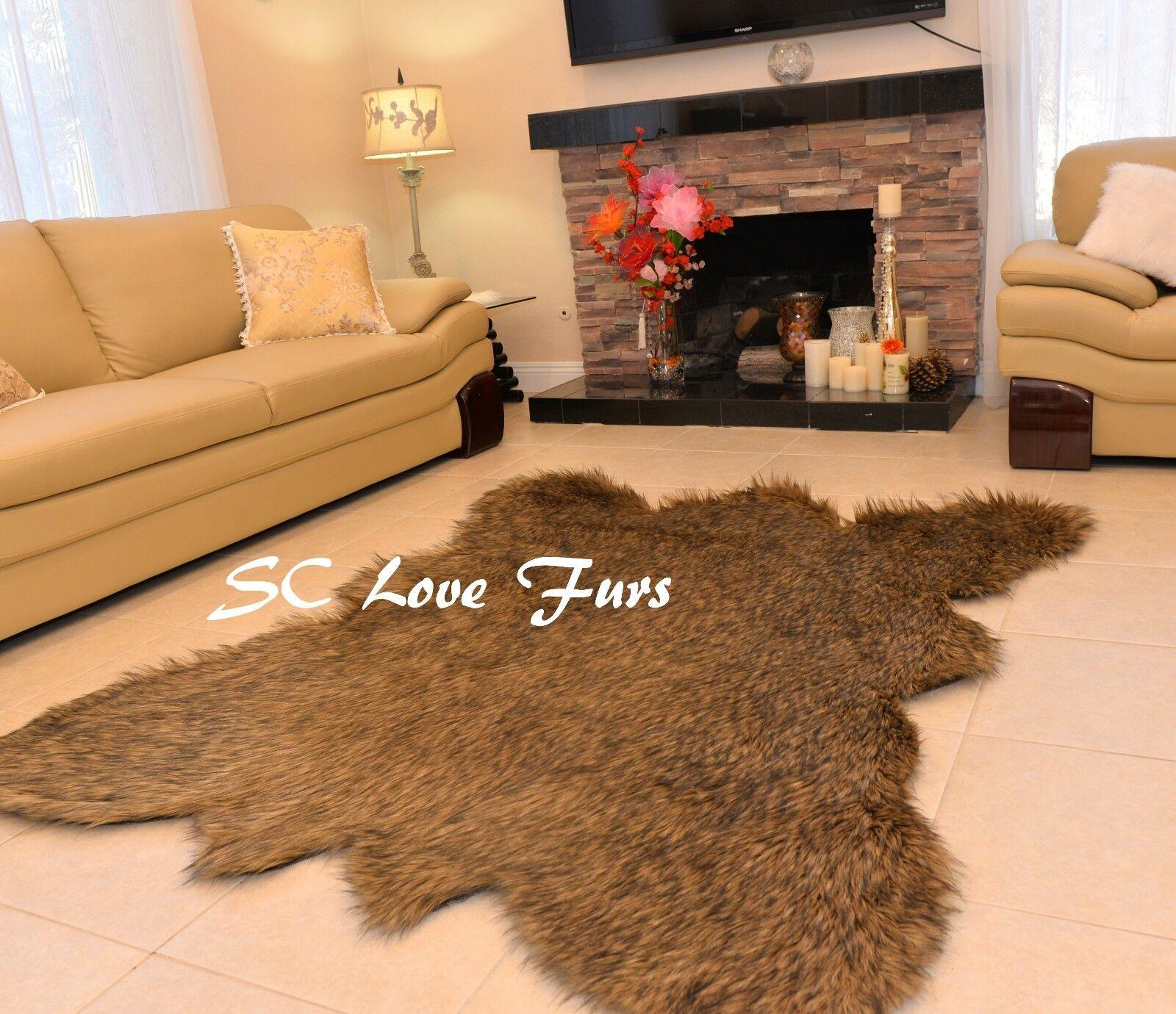 Furry Grizzly Bearskin Marronee Tip Faux Fur Area Rug Christmas Lodge Home Decor