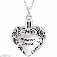 925 Sterling Silver Cremation Forever Loved Ash Holder 18 Necklace