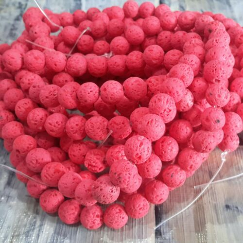 Oz Seller Free postage Natural Lava Beads Red 8mm Round 35cm Strand