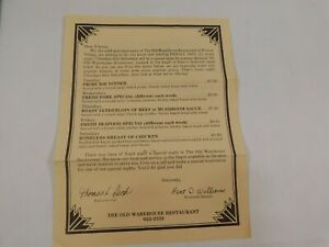 Vintage 1980's The Old Warehouse Restaurant Menu Roscoe Village Ohio