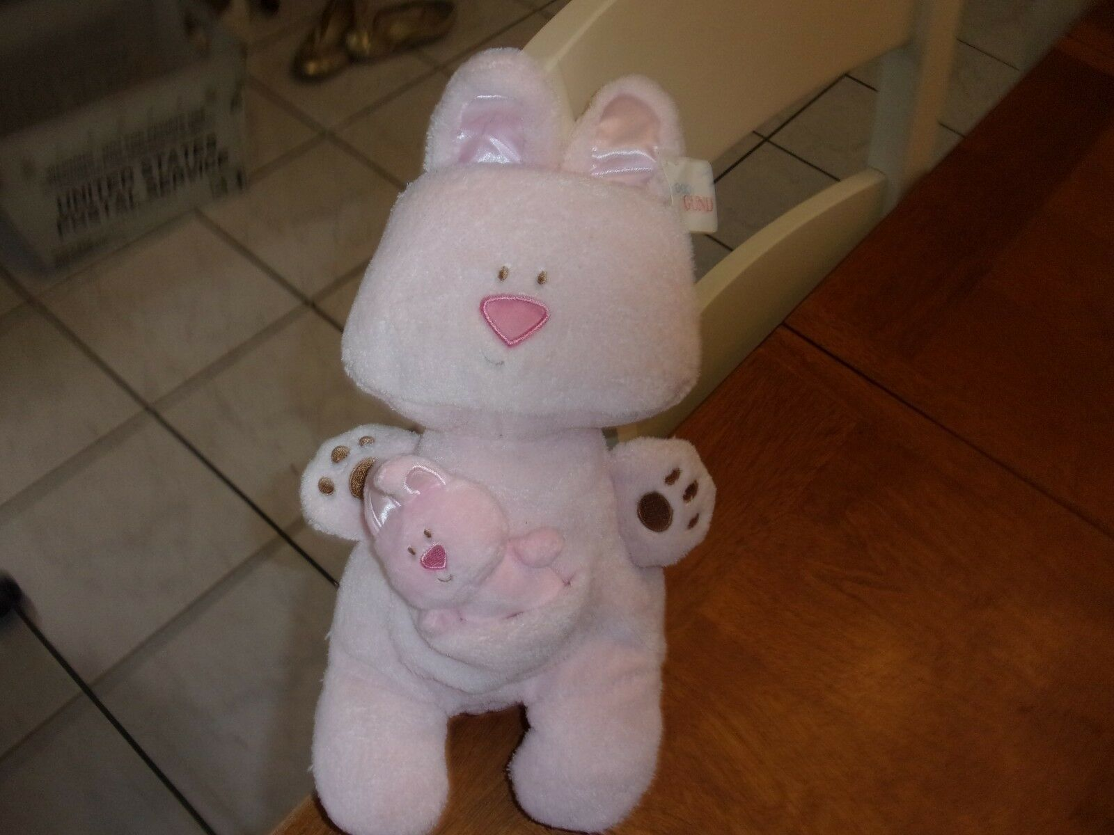 4036988 BABY GUND MOMma  BABY BEBBA BUNNY RABBIT pink RATTLE PLUSH TOY  new 13
