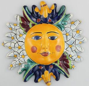 Image Is Loading Mexican Talavera Ceramic Sun Face Wall Decor Hanging
