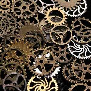 50 100g mix bronze silver gold steampunk cogs gears charm watch