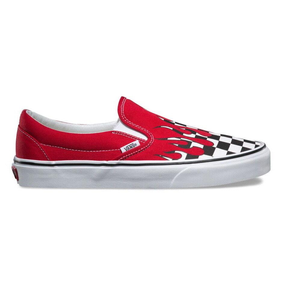 Nuevo Vans Clásico Slip-on Checker llama Racing rojo Auténtico blancoo Tenis Zapatos