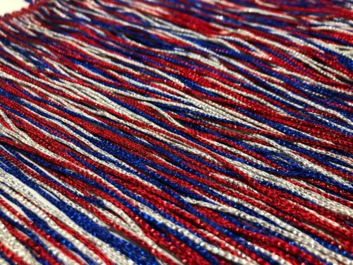 2020 USA Election Fringe Metallic Red Silver and Blue Chainette White