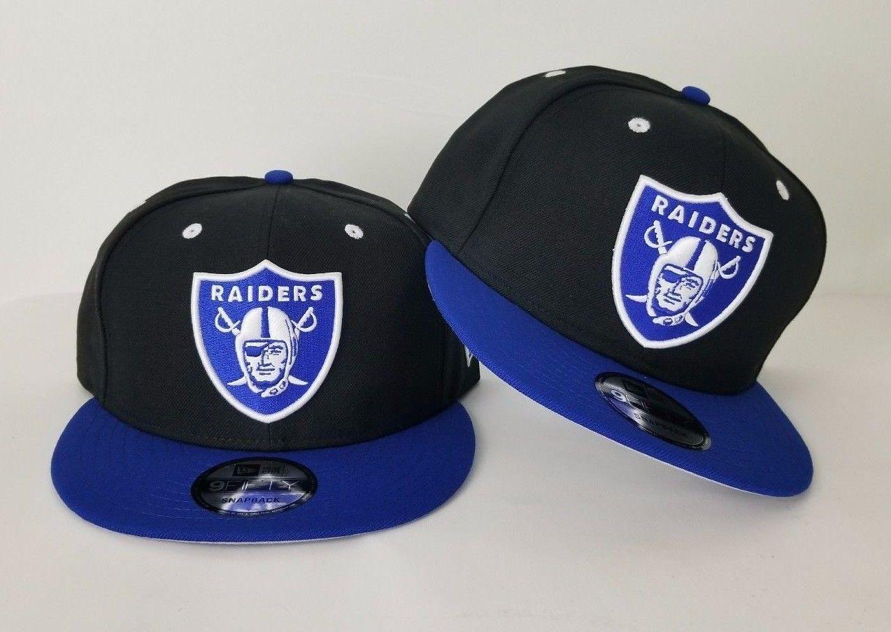 New Shield Era NFL Black / Royal Blue Oakland Raiders Shield New Logo 9Fifty Snapback Hat e69417