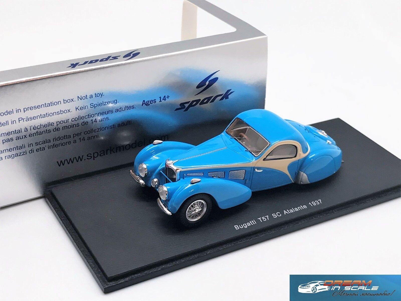 Bugatti T57 SC Atalante 1937 azul  Spark S2723 resin 1 43