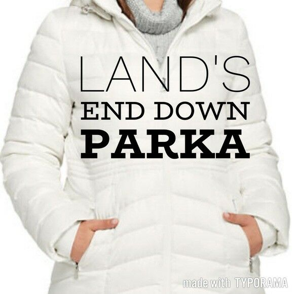 NEW Lands End Hood long puffer size 3x 24w-26w full zip down fill white ivory