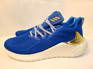 New-Adidas-AlphaBOOST-Glory-Blue-Gold-Running-Shoes-G54130-Men-039-s-Size-9-5