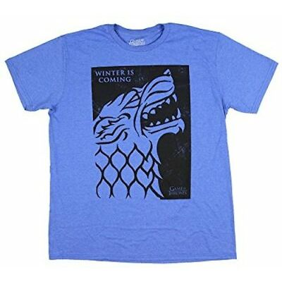 Game Of Thrones Stark Winter Is Coming Blue T-Shirt HBO TV Show Tee Fashion NWT