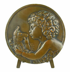 Medal-Young-Wildlife-to-the-Antelope-112mm-641g-Sc-Thenot-Young-Satyr-Medal