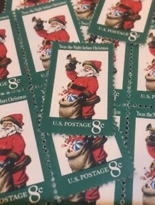 10 Vintage Christmas Stamps...Jolly Santa... Dress Up Your Mail