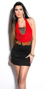 Robe-fashion-rouge-noire-leopard-avec-ceinture-NEUF-Taille-34-36-38-40-tendance