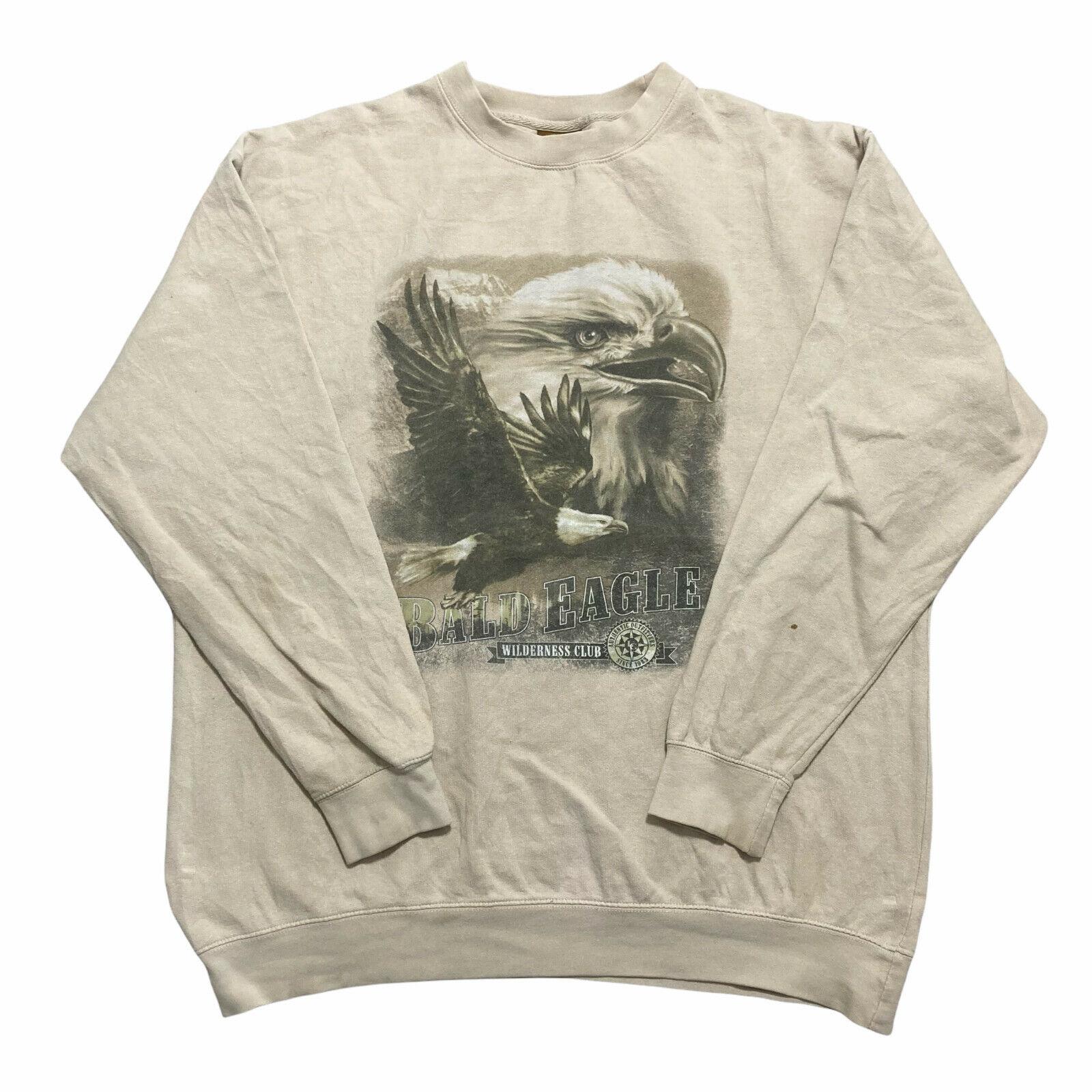 Vintage American Outdoors Mens Sweatshirt Bald Eagle Wilderness Jumper Size 2XL