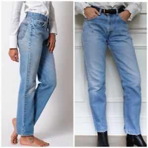 Women-s-Vintage-Levi-s-505-Mid-High-Waisted-Boyfriend-Mom-Jeans-Zip-Fly