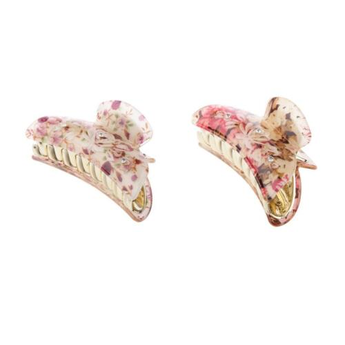 2Pcs//set Floral Print Colorful Jaw Gripper Claw Hair Clip Women Accessories