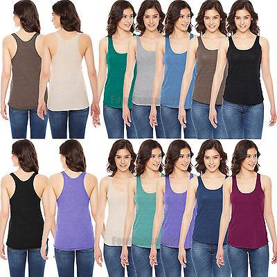 Large Indigo American Apparel Womens Tri-Blend Racerback Tank Shirt