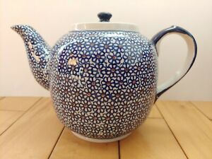 Vtg-Boleslawiec-Pottery-Cobalt-Blue-Teapot-Made-Poland-FLAWED-For-Display-only