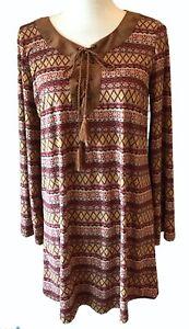 FLYING TOMATO Tunic Dress Lace-Up Soft Suede-Like Fabric Brown Aztec Boho Large