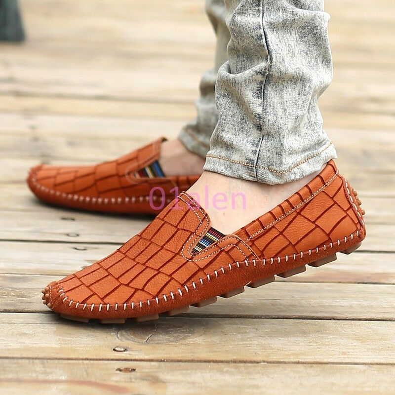 Mens Flat Heel Loafers Slip on Faux Leather Moccasins Gommino Boat Driving shoes