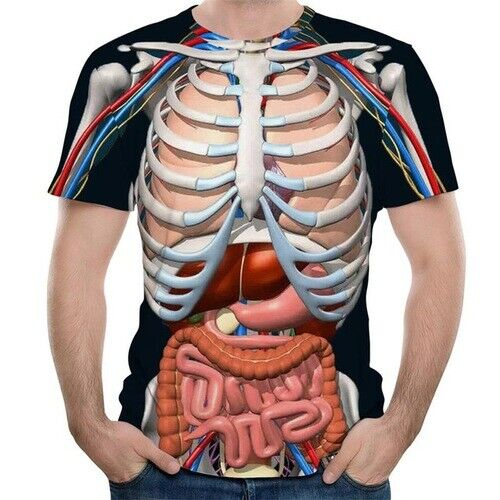 Oversized Women Men Casual T-Shirt 3D Print Skeleton Organs Short Sleeve Tee Top