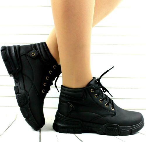 LADIES BLACK LACE UP CASUAL FLAT HI HIGH TOP ANKLE BOOTS SHOES TRAINERS SNEAKERS