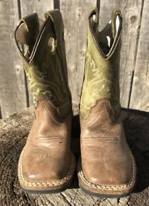 04a95a81e9a Details about Old West Olive Green Toddler Boys Leather Broad Square Toe  Cowboy Boots Sz 040