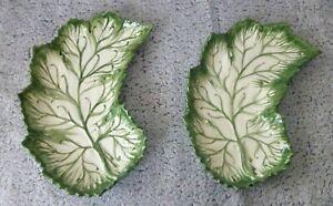 Serving-Platter-Plate-Dish-Grape-Leaf-Portugal-Pottery-Green-Embossed-Ceramic