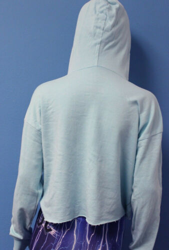 Sublime Cropped Pullover Hoodie Unfinished Hems blue New Trunk Ltd