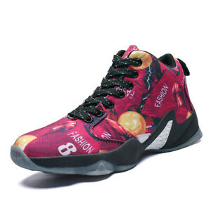 Men-039-s-Air-Cushion-Basketball-Shoes-Boots-Slamdunk-High-Top-Sports-Sneakers-Red