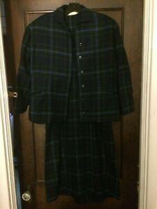 Vintage-1950-039-s-Women-039-s-Blue-amp-Green-Plaid-Wiggle-Dress-amp-Jacket-Rockabilly-Small