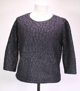 T56-17 COS Damen Pullover Sweater Shirt schwarz Gr. XS Struktur-Stoff ¾-Ärmel