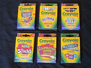 New RARE Crayola Crayons Lot Retro~Techno Brite~Glitter~Color Slicks~Metallic FX
