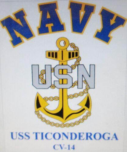 USS TICONDEROGA  CV-14*  AIRCRAFT CARRIER U.S NAVY W// ANCHOR* SHIRT