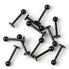 Black 10pcs 16G Stainless Steel Labret Lip Ring Ball Stud Chin Piercing Bars