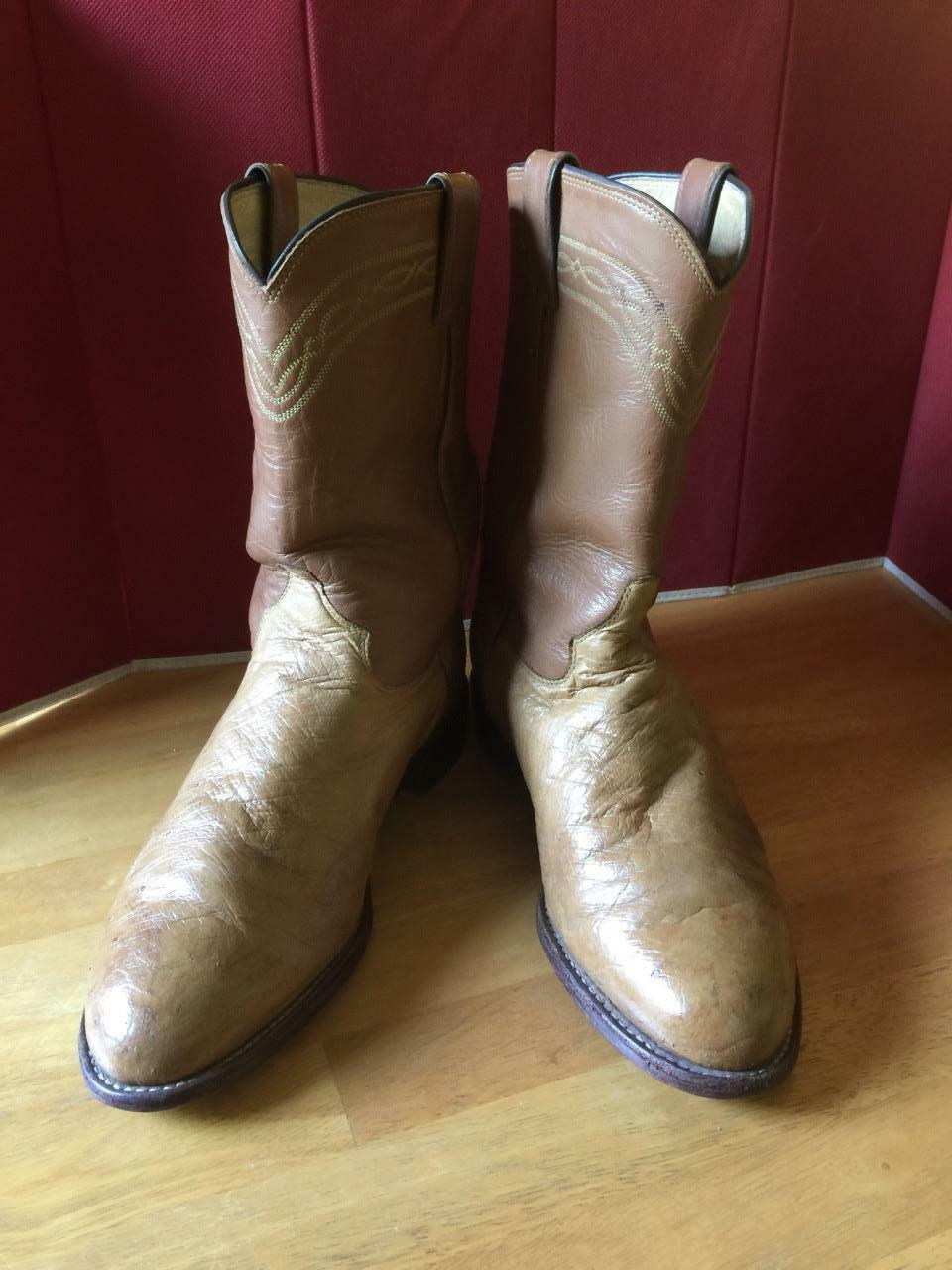 Justin Tan OSTRICH M Cognac Uppers 3022 M OSTRICH 8EE MADE IN USA WESTERN ROPER Stiefel 8 EE 0ff1f5
