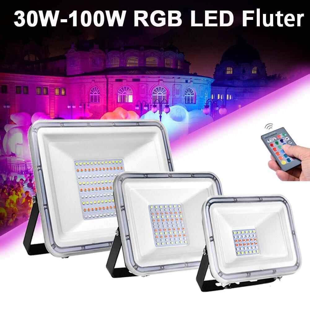 RGB LED Fluter 30W 50W 100W Farbwechsel Mit Fernbedienung SMD Außenstrahler IP67