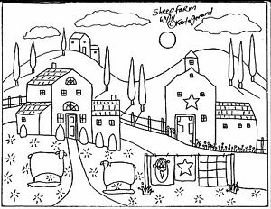 RUG-HOOKING-CRAFT-PAPER-PATTERN-Sheep-Farm-ABSTRACT-FOLK-ART-Karla-Gerard