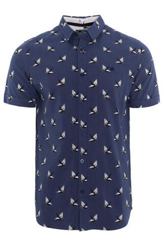Brave Soul Homme Pli à manches courtes Origami Bird Print Shirt Designer Coton Top