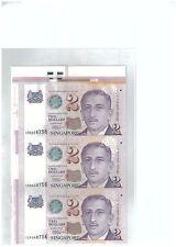 Singapore $2 3pcs UNCUT Banknote With Corner Selvage UNC