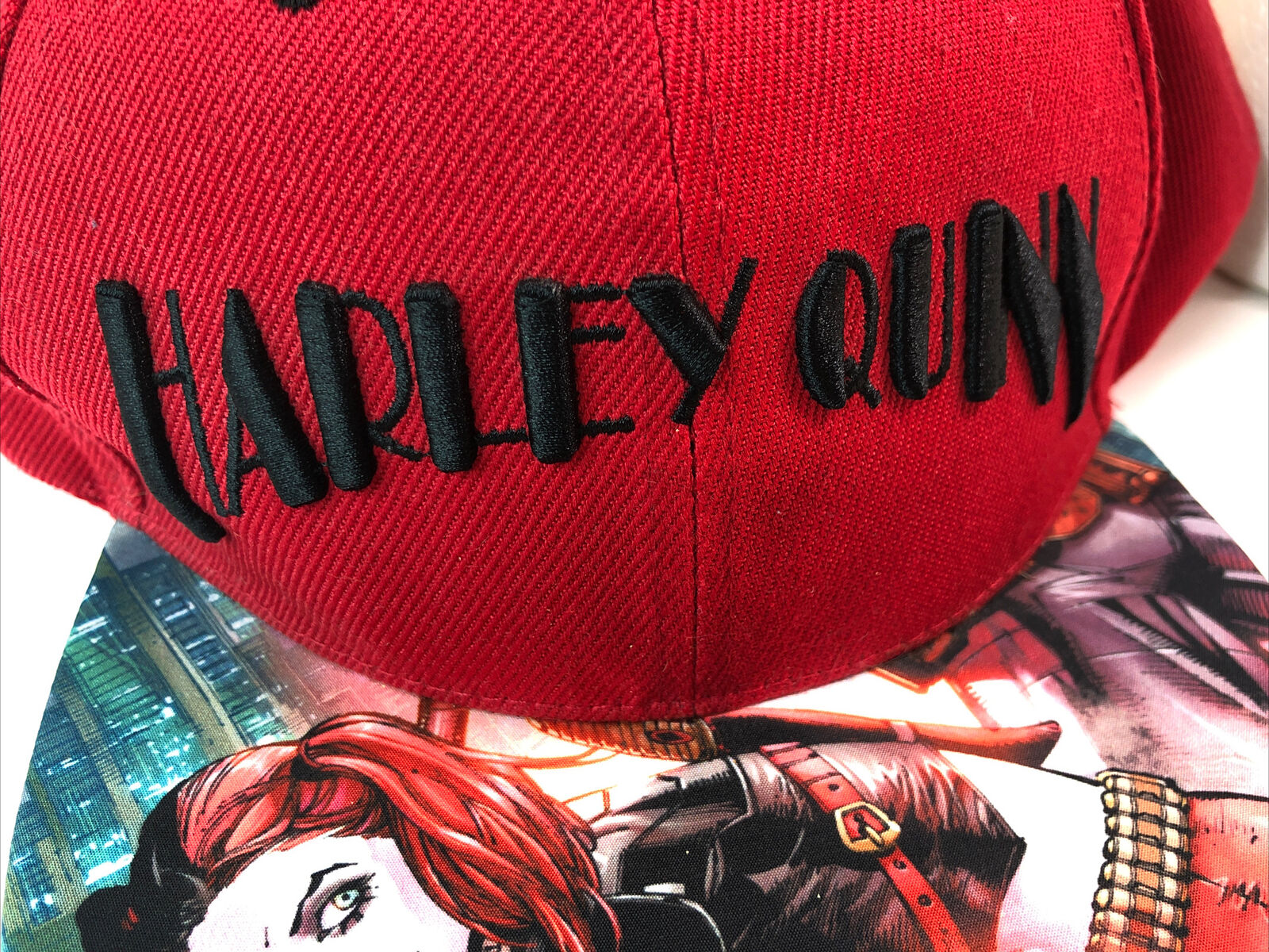 Harley Quinn Snapback Hat Cap Red - image 4