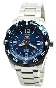 Seiko-5-Sports-SRPB85K1-Men-039-s-Stainless-Steel-Blue-Dial-100M-Automatic-Watch