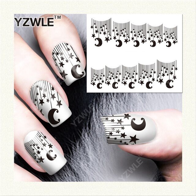Nail Art Water Decals Transfers Stickers Black Lace Stars Moon GEL ...