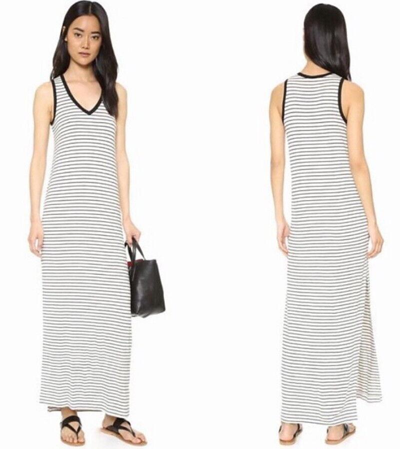 ATM Stripe Jersey Stretch Maxi Dress Small 2 4 Marble + schwarz Super Soft