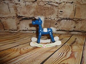 Vintage-Wooden-Wood-Rocking-Horse-Blue-White-Tree-Ornament-Holiday-Decoration