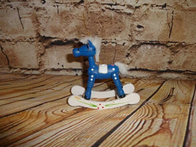 Vintage Wooden Wood Rocking Horse Blue White Tree Ornament Holiday Decoration