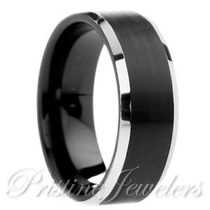 Image Is Loading Tungsten Carbide Brushed Black Comfort Fit Mens Silver