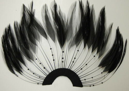 MIDNIGHT BLACK Hackle Feathers; Headbands//Halloween//Craft ONE FEATHER PINWHEEL