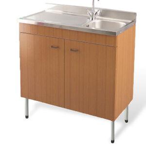 Lavello da cucina acciaio inox completo di mobile colore teak versione sinistra ebay - Mobile lavello cucina acciaio ...